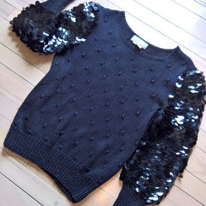 Vintage Sequin Knit Pullover Sweater